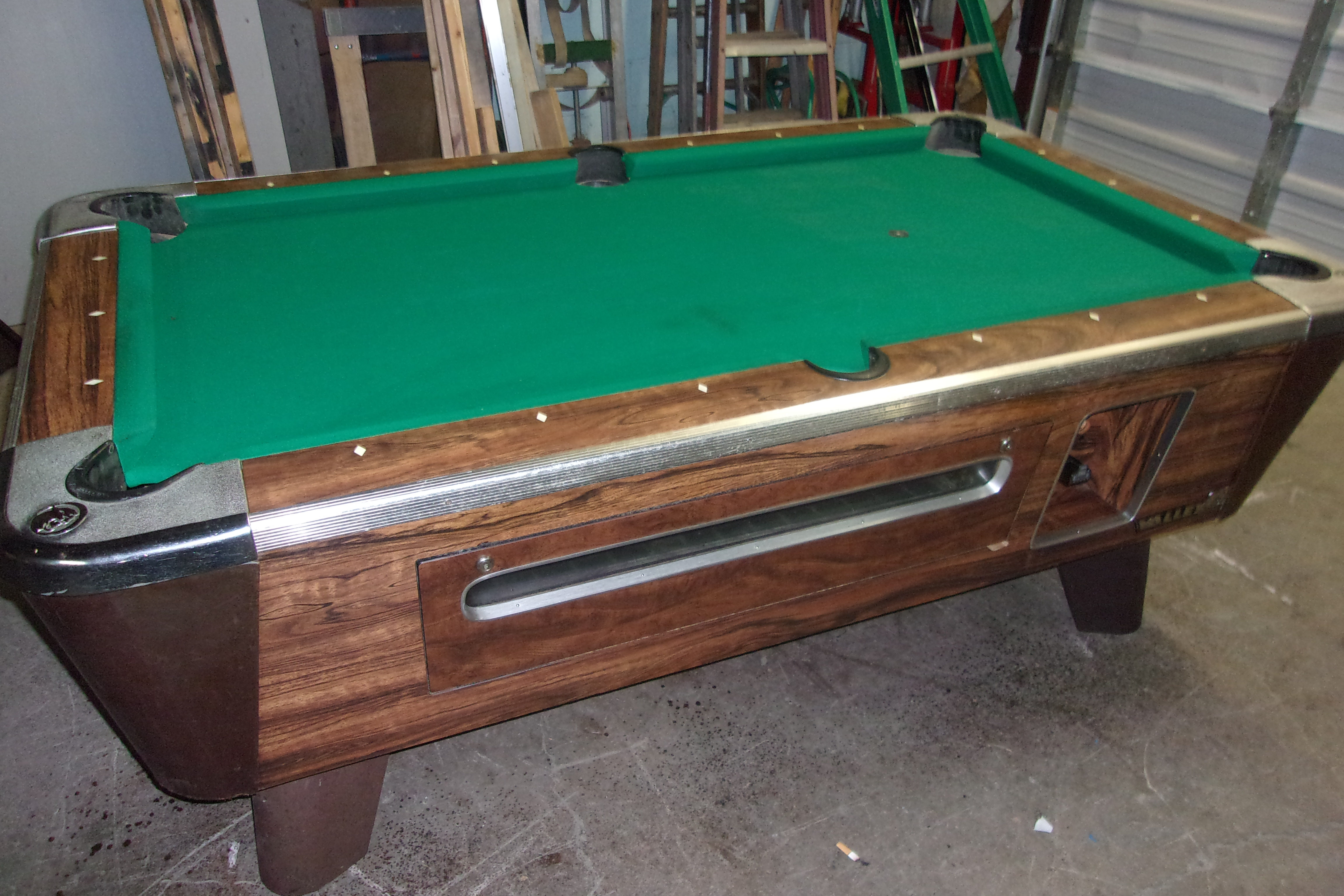 Valley Ft Coin Op Pool Table RARE PT Thomas Games - Pool table description